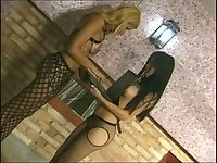 Fetish orgy with a blonde tranny chick