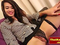 Classy thai shemale whore wanks herself