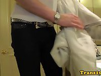 Tattooed tranny doggystyled for cash