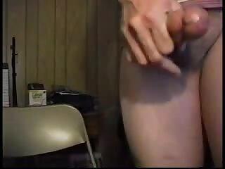 Solo Crossdresser Dildoing, Wanking & Cumming