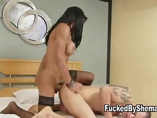 Bronze shemale in stockings fucks her boyfriend
