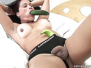 Cute TS Plays With Dildos & Vegetables