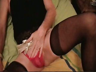 Sexy crossdresser shows his sucking skills