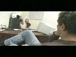 Busty tranny sucks at the office