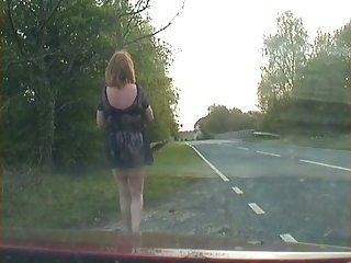 Outdoor crossdresser in lingerie