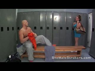 Titty shemale fucked in locker room
