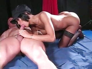 Hot Brunette Shemale Gets Ass Banged