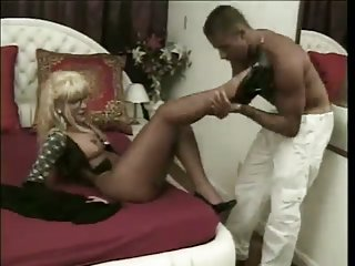 Randy Blonde Tranny Serving Hard Dick