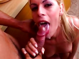 Blonde tranny gets fucked & facialized