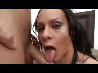 Busty brunette sucks cock and gets fucked