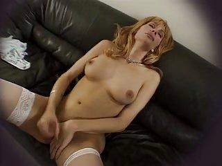 Sexy lingerie blonde masturbating