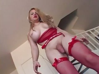 Blonde TS in red lingerie