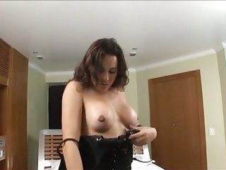 Busty brunette shemale sucks & gets fucked