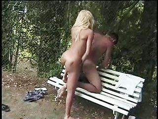 Blonde tranny with small tits gets analed