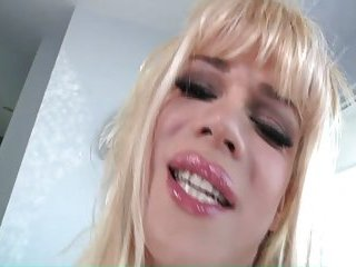 Hung blonde TS masturbates splashing sperm onto her stomach