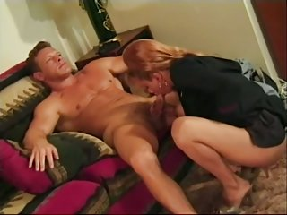Shemale eats his big cock