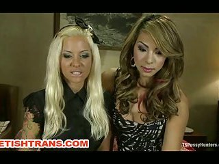 TS Chriselle Fucks A Hot Blonde Fast And Hard