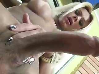 Cute big dicked blonde TS jacks off
