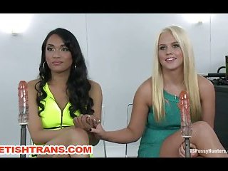 Transsexual Domina Fists Anal Pussy Slave and Machine Fucking