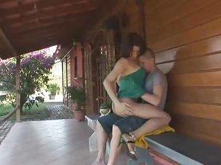 Busty tranny bitch fucks a guy in all poses
