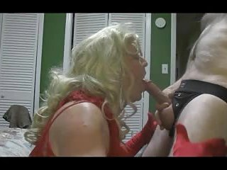 Blonde crossdresser blows big cock hard