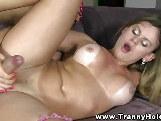 Shemale getting her ass plowed with dick and cant get enough
