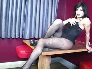 Sexy brunette in pantyhose cums a lot