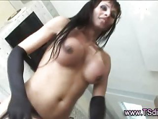 Tranny shemale gets a cumshot after mutual act