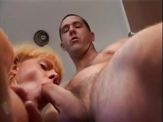 Mutual fuck with a blonde shemale bitch