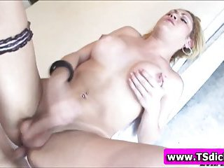 Ass rammed tranny tugs and cums