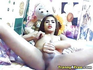 Big Cock Petite Tranny Jerking Off