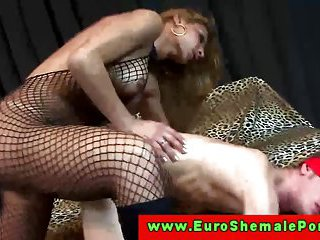 Watch a crazy fuck with a lingeried tranny bitch