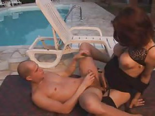 Brunette tranny fucks dude ass outdoor