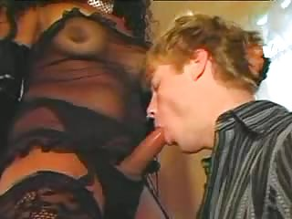 Big boobs tranny gets her cock sucked off