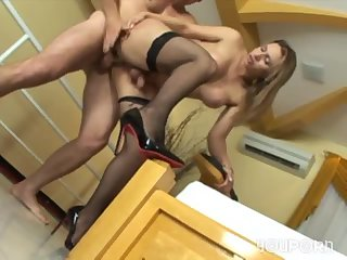 Tranny in black stockings gets fucked
