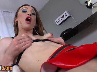 Stockings clad tgirl jerks dick