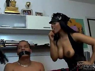 Black chick gets double facial