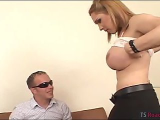 Big boobs tranny Karen screwed by 2 men