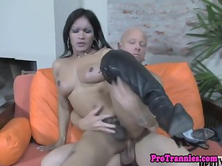 Busty latina shemale assfucked deeply